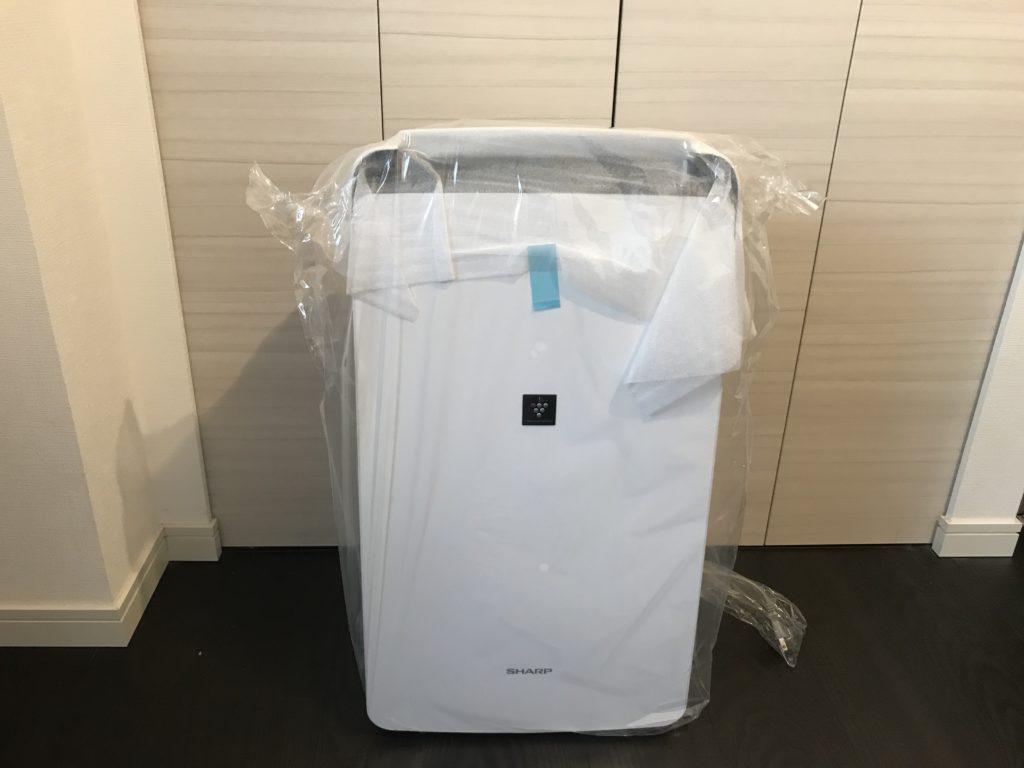 開封した衣類乾燥除湿機