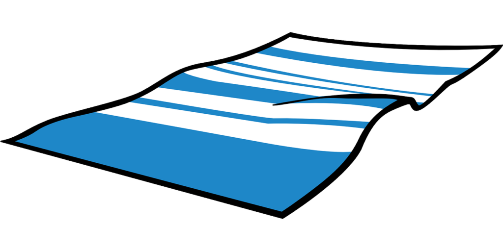 青い横シマのタオル 画像