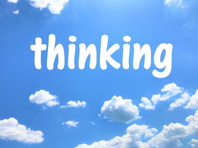 青空にthinkingの文字 画像