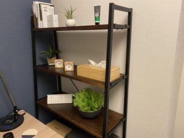 天板木製(パイン材)で脚部アイアン5段のオープンラックで仕事部屋をおしゃれにした