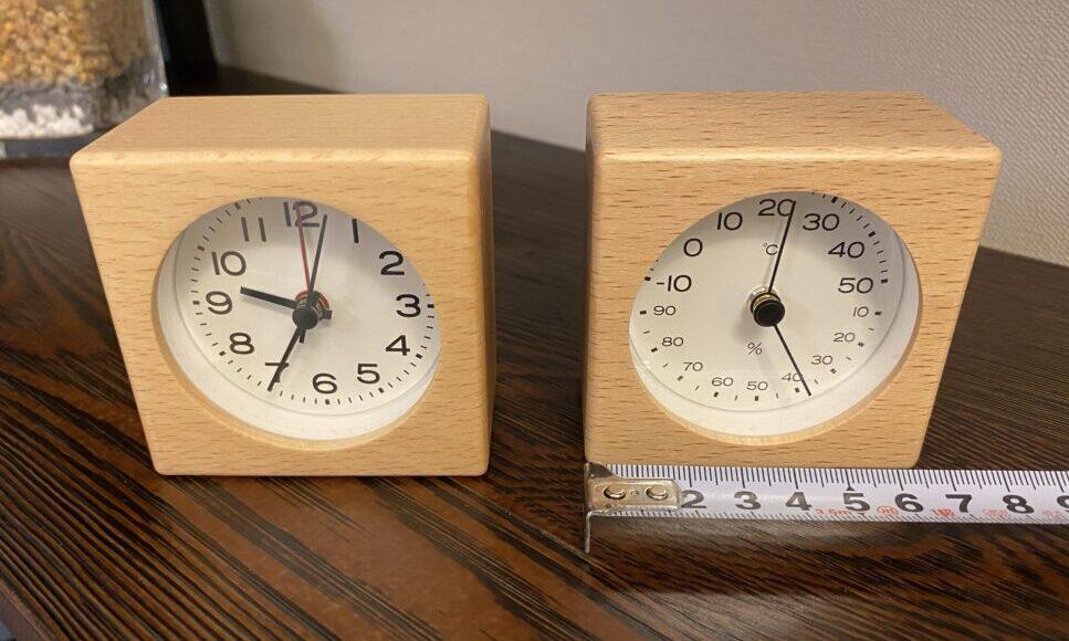 置き時計と湿度温度計 正面 画像